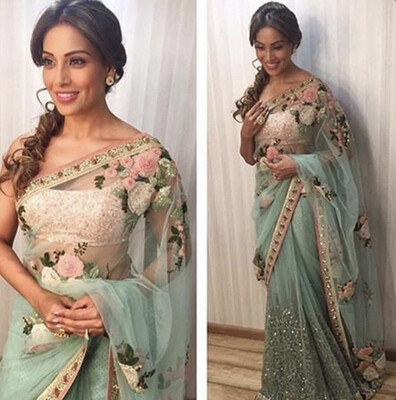 Indian Traditional Designer Heavy Bollywood Style Sky Blue Color Nylon Net Embroidered Saree for Women, Party Wear Sarees