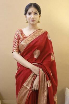 Face Deal Red Color Classy Kanchipuram Lichi Silk Butta Designer Saree For Women