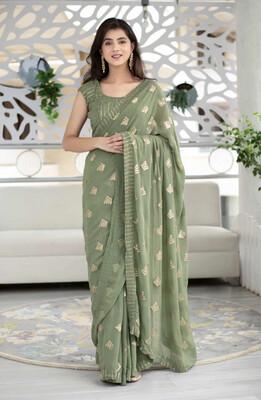 Women's Olive Green Sequin Work Saree - Label Shaurya Sanadhya