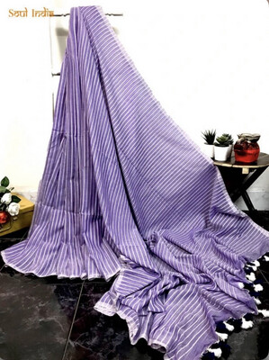Lavendaire - Mulmul Cotton Woven Stripe Saree
