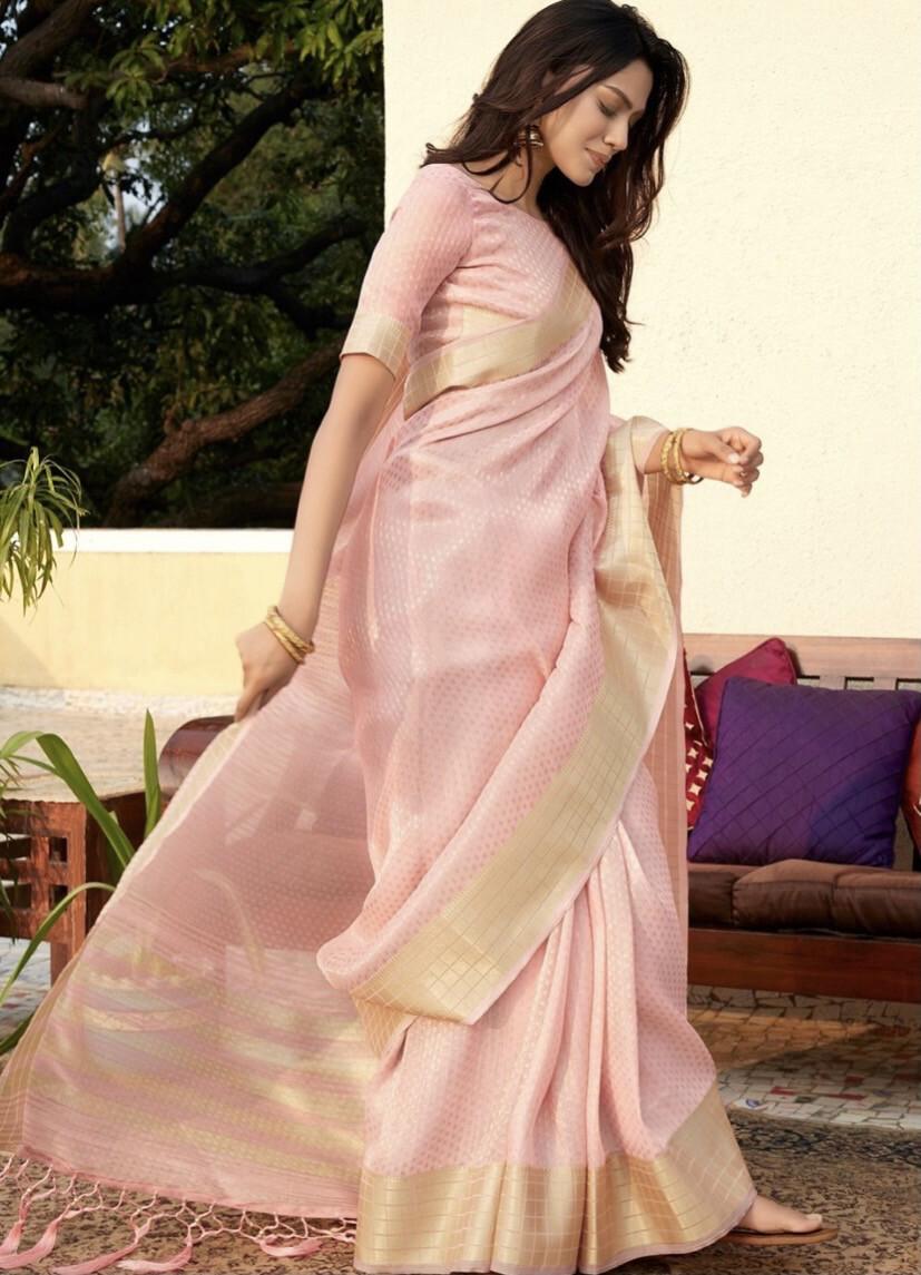 Flamingo Pink Zari Woven Tissue Silk Saree
