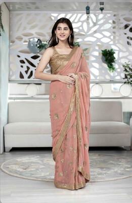 Women's Peach Saree - Label Shaurya Sanadhya
