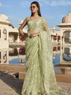 Exclusive Green Colour Naylon Mono Net Saree