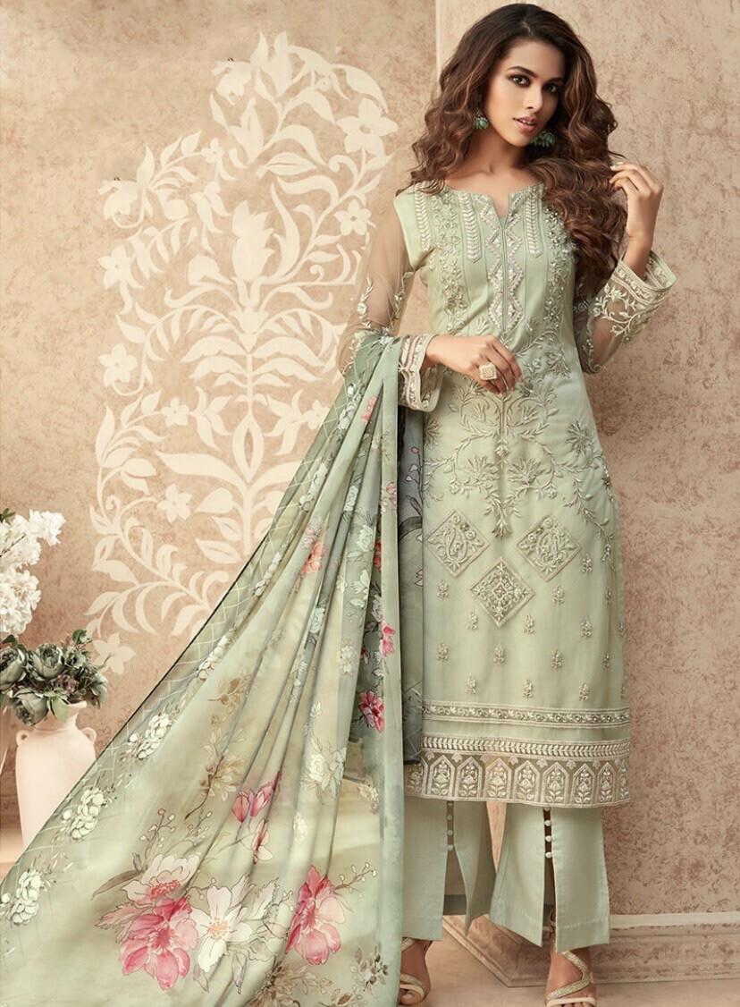 Admirable light green colored partywear salwar kameez