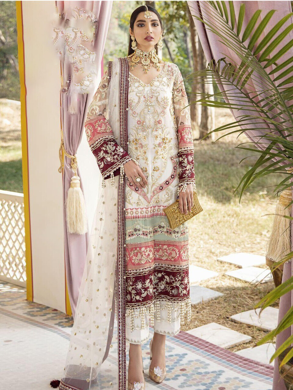 Sequence Embroidered Butterfly Net Pakistani Suit In White