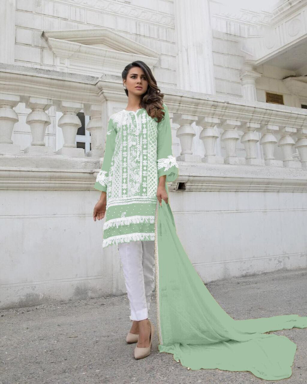Heavy Embroidered Georgette Pakistani Suit In Green