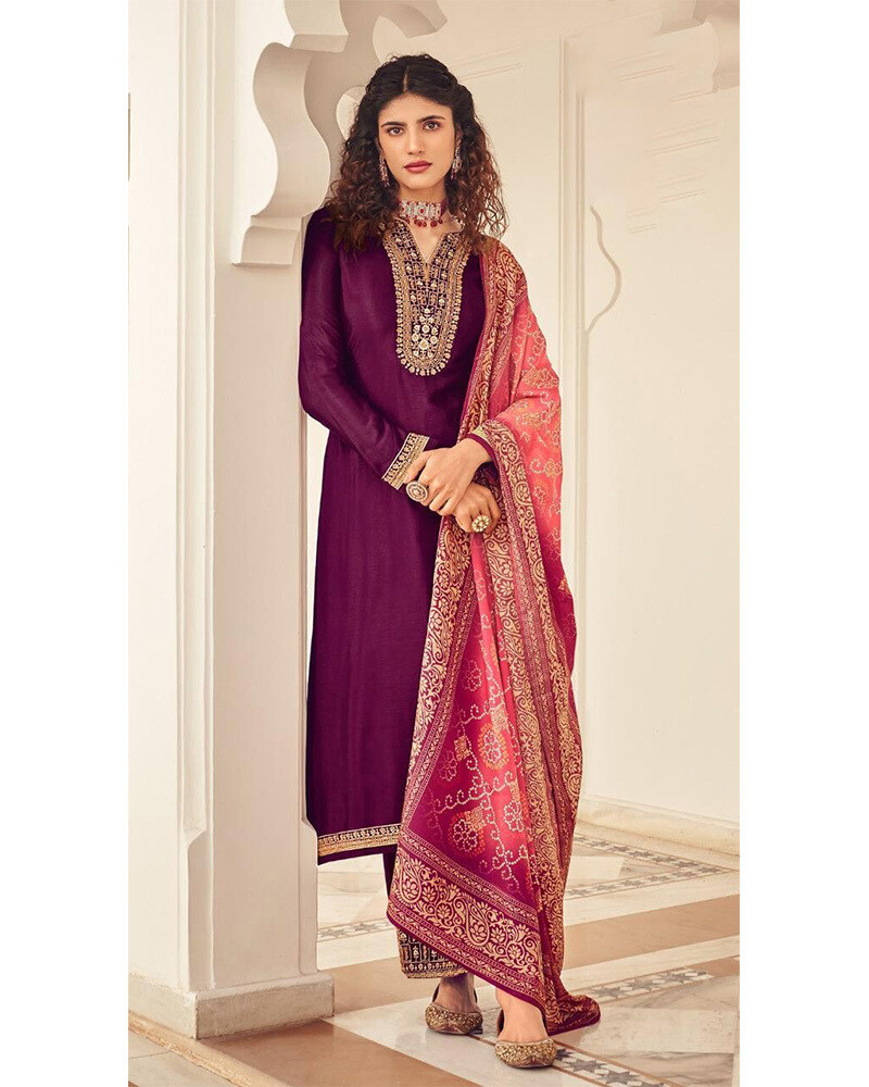 Thread Embroidery Plazzo Suit In Purple