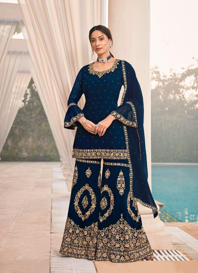 Indigo Embroidery Sequence Georgette Sharara Suit
