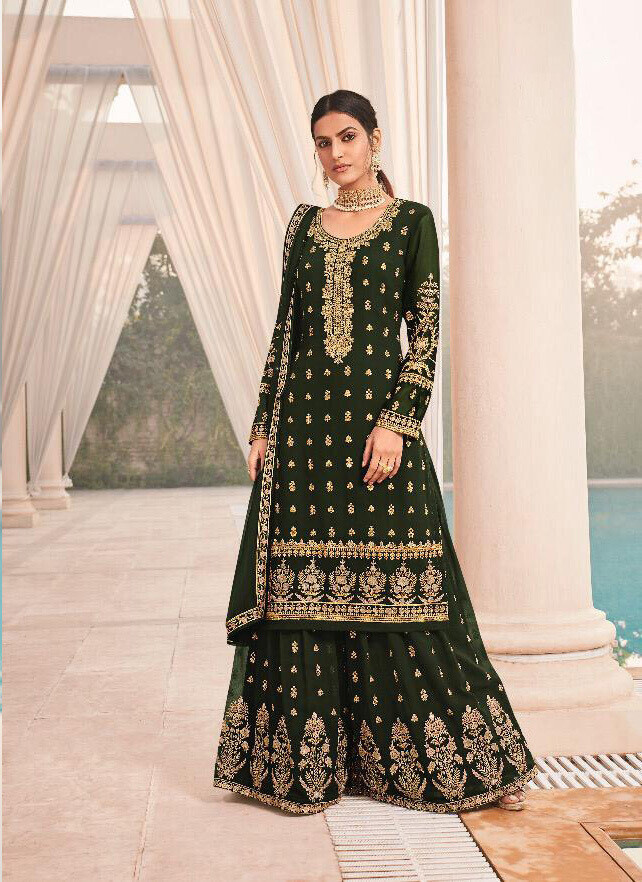 Green Embroidery Sequence Georgette Sharara Suit