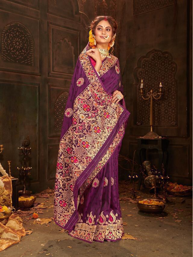 Jacquard Woven Banarasi Silk Saree In Dark Purple