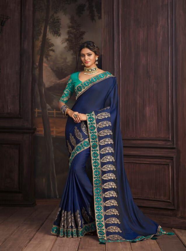 Jacquard Woven Silk Saree In Royal Blue
