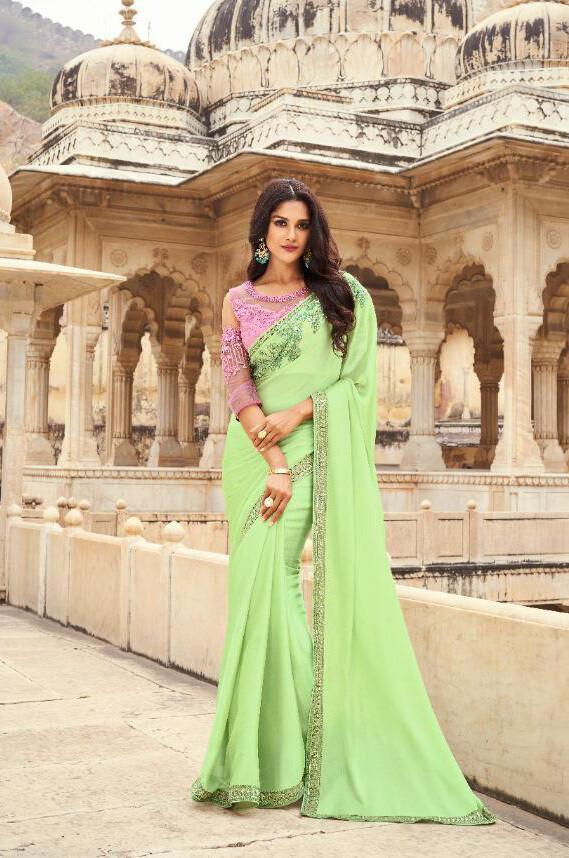 Embroidered Nyraa Silk Saree In Green