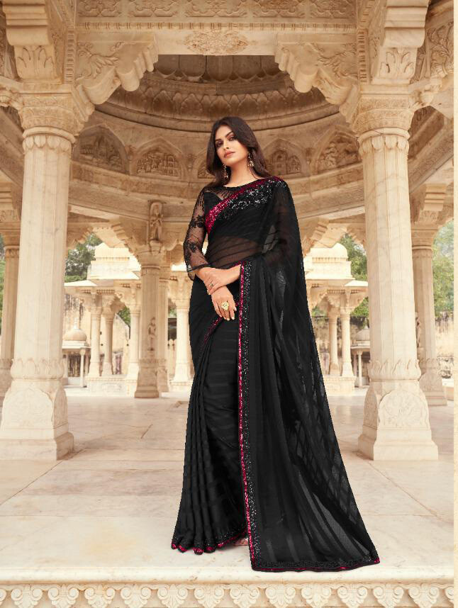 Embroidered Majestic Pattern Silk Saree In Black