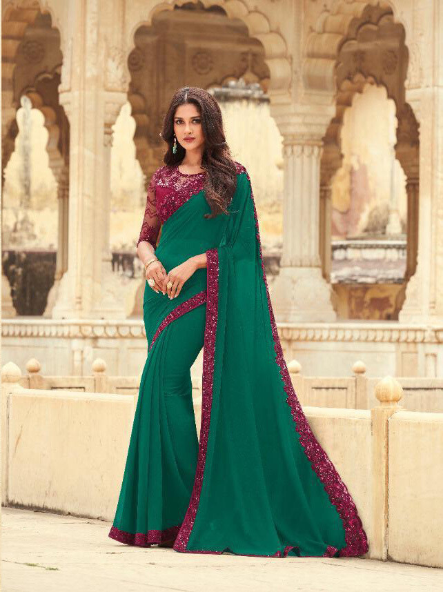 Embroidered Kasab Georgette Saree In Green