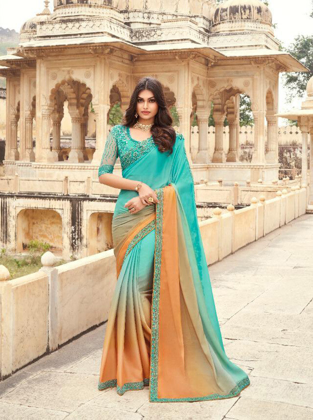 Embroidered Oracle Silk Saree In Turquoise Blue