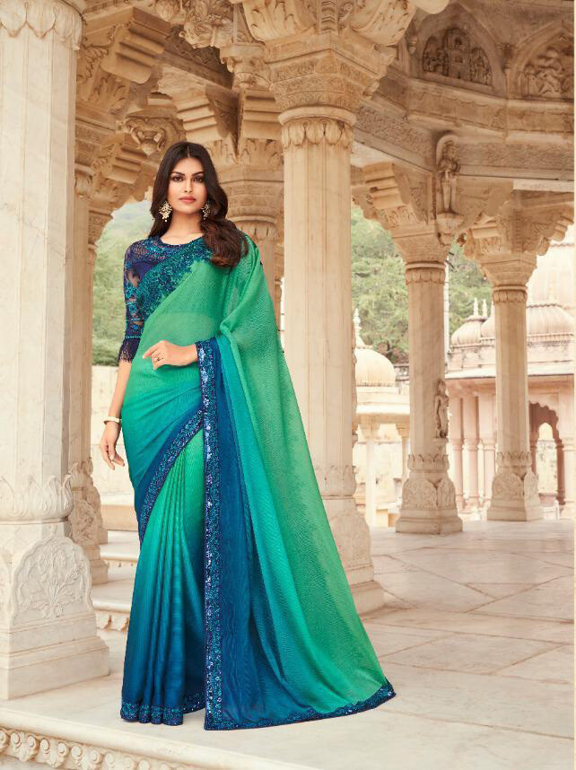 Embroidered Burberry Silk Saree In Teal Blue