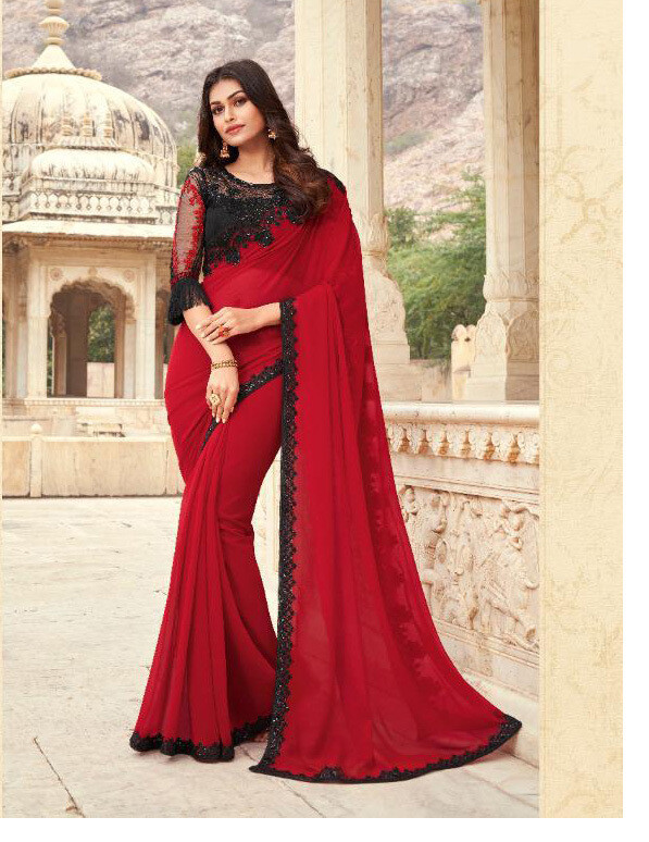Embroidered Kasab Georgette Saree In Blood Red