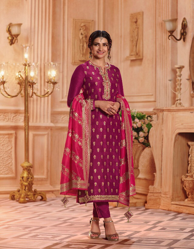 Pure Dola Jacquard Plazzo Suit In Pink