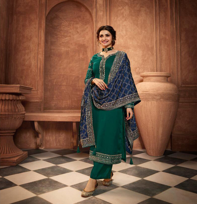 Embroidered Muslin Satin Plazzo Suit In Teal Blue