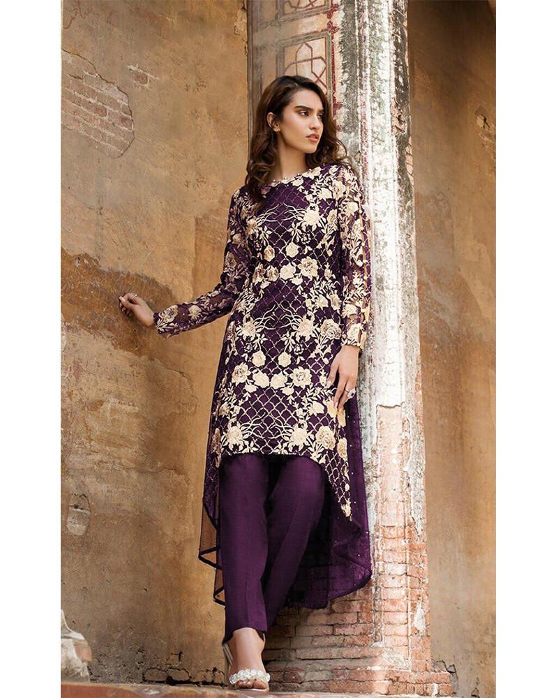 Embroidered Sequins Georgette Pakistani Suit In Dark Purple
