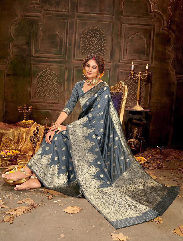 Jacquard Woven Banarasi Silk Saree In Anchor Grey