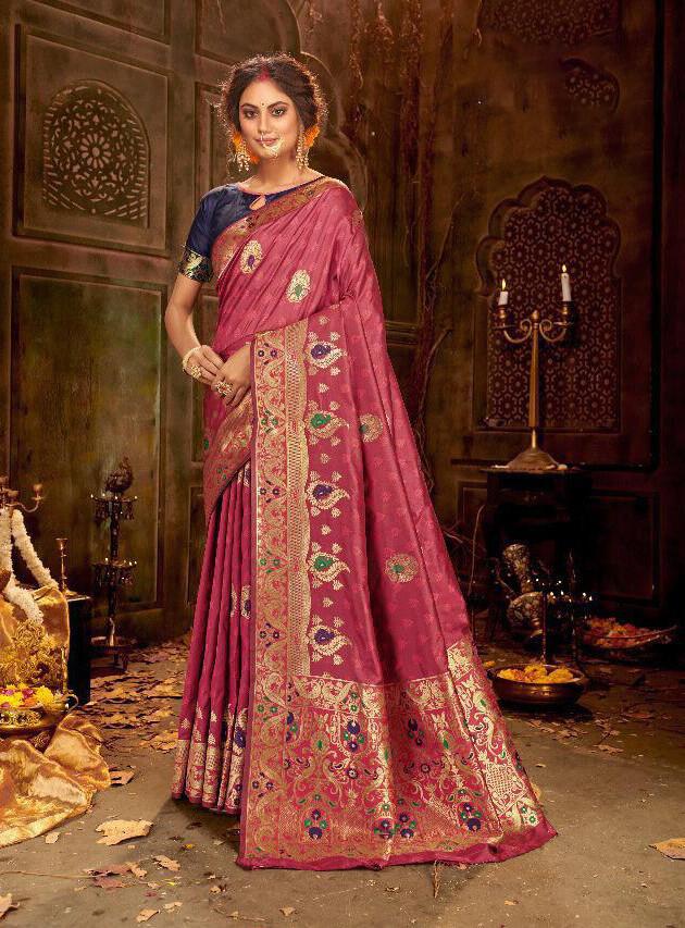 Jacquard Woven Banarasi Silk Saree In Raspberry Red