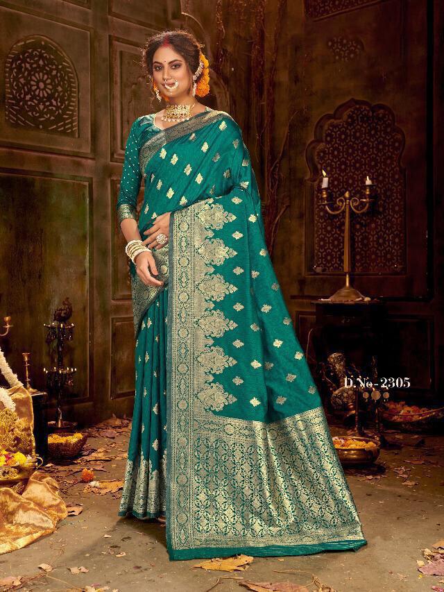 Jacquard Woven Banarasi Silk Saree In Teal Blue