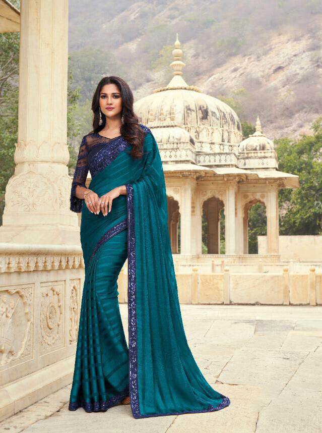 Embroidered Majestic Pattern Silk Saree In Prussian Blue