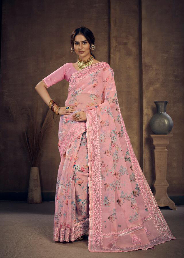 Digital Printed Organza Saree In Pink