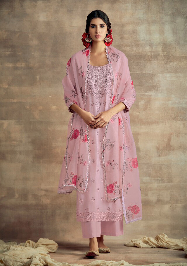 Neck Embroidered Tusser Silk Plazzo Suit In Light Purple