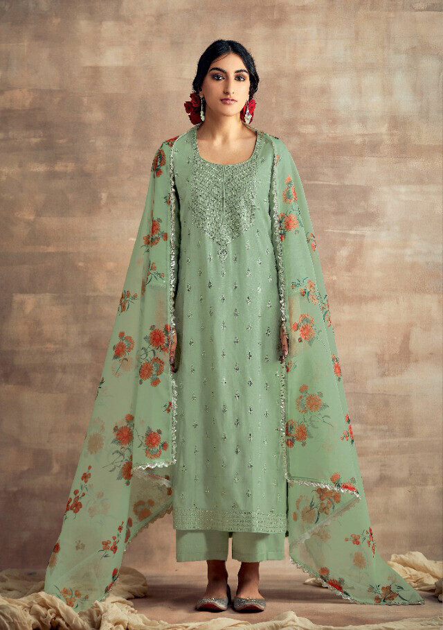 Neck Embroidered Tusser Silk Plazzo Suit In Sea Green