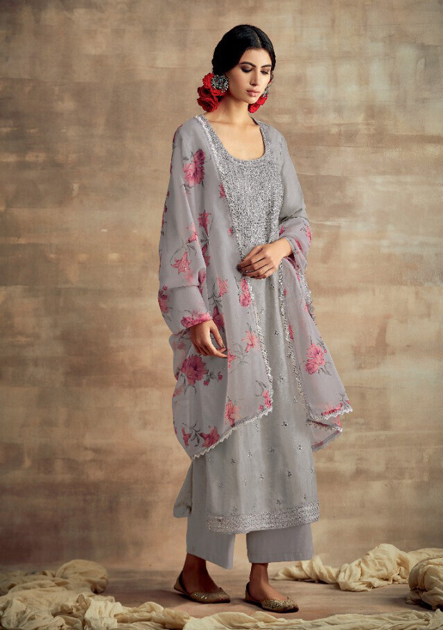 Neck Embroidered Tusser Silk Plazzo Suit In Grey