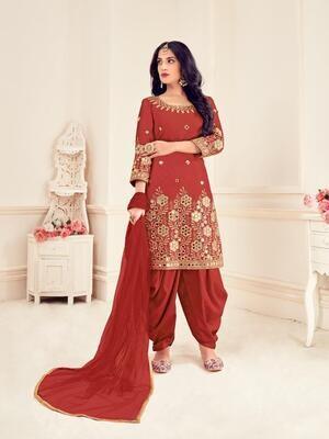 Mirror Work Bitalian Soft Silk Punjabi Suit In Red
