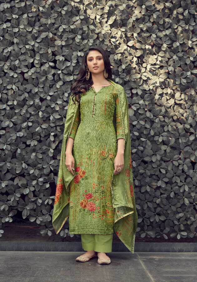 Embroidered Digital Print Pure Muslin Plazzo Suit In Mehendi Green