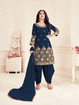 Mirror Work Bitalian Soft Silk Punjabi Suit In Navy Blue