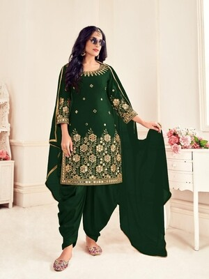 Mirror Work Bitalian Soft Silk Punjabi Suit In Green