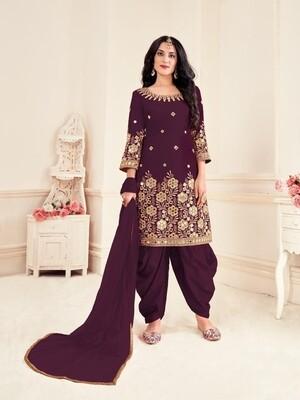 Mirror Work Bitalian Soft Silk Punjabi Suit In Purple