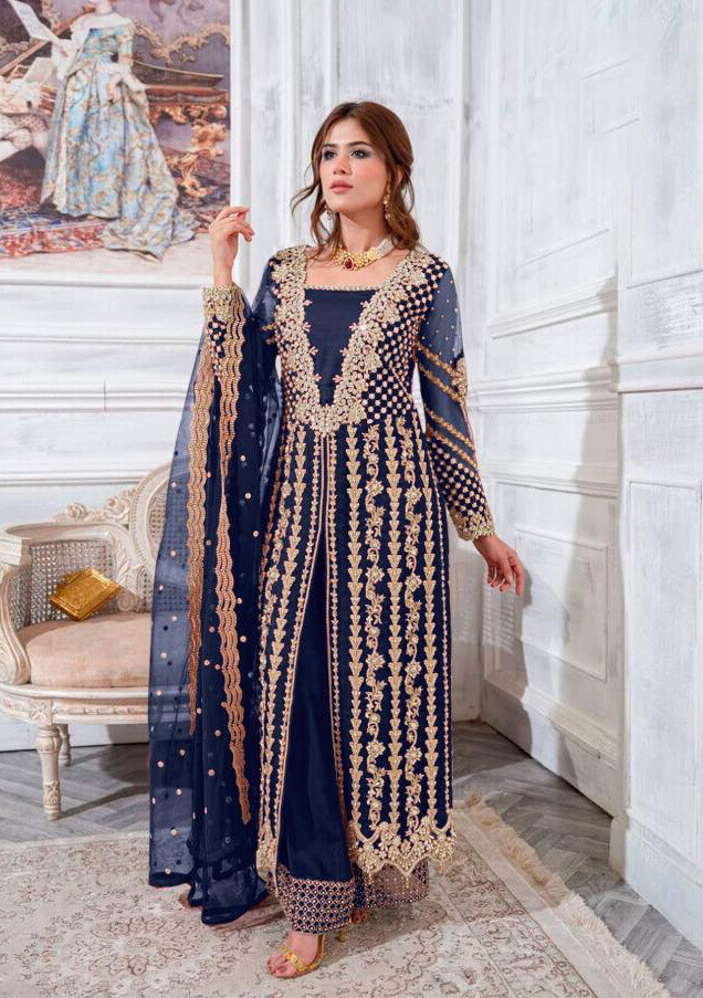 Embroidered Georgette Plazzo Suit In Navy Blue