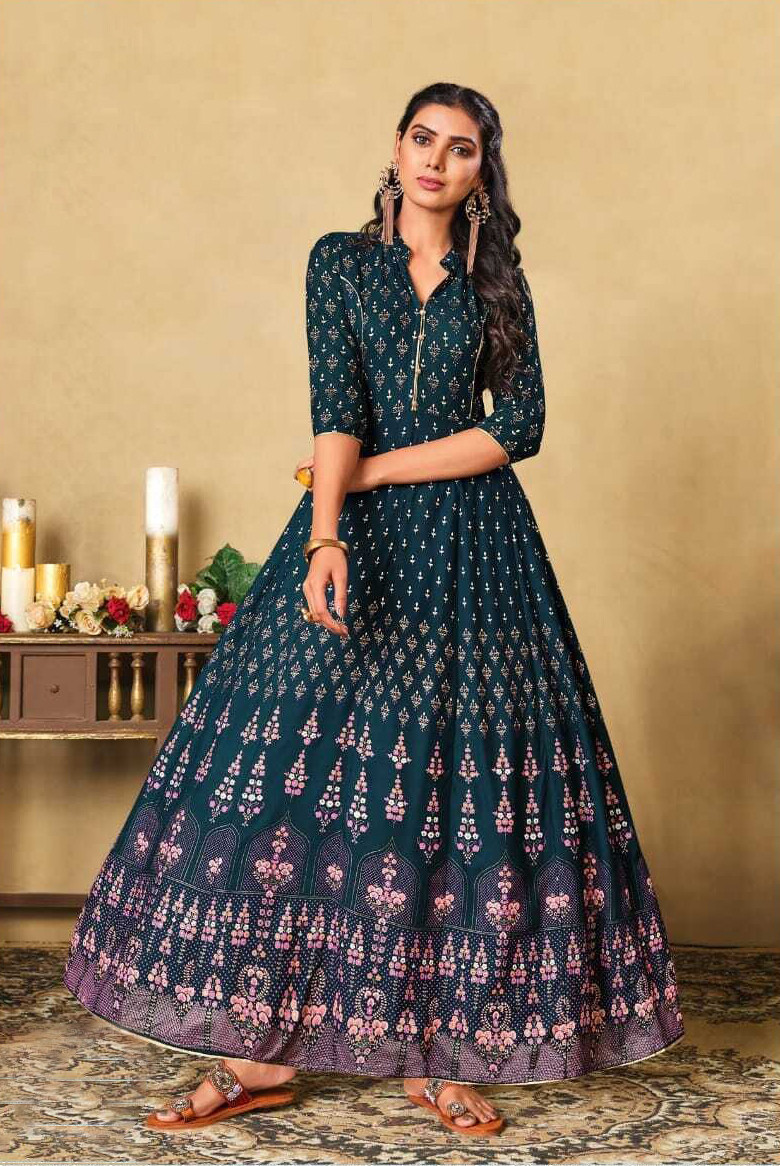 Embroidered Foil Print Heavy Rayon Gown In Teal Blue