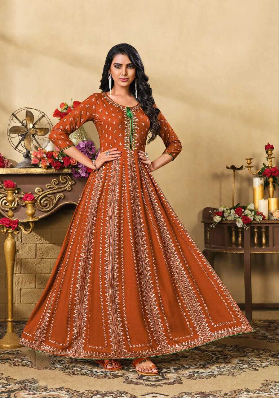 Embroidered Foil Print Heavy Rayon Gown In Orange