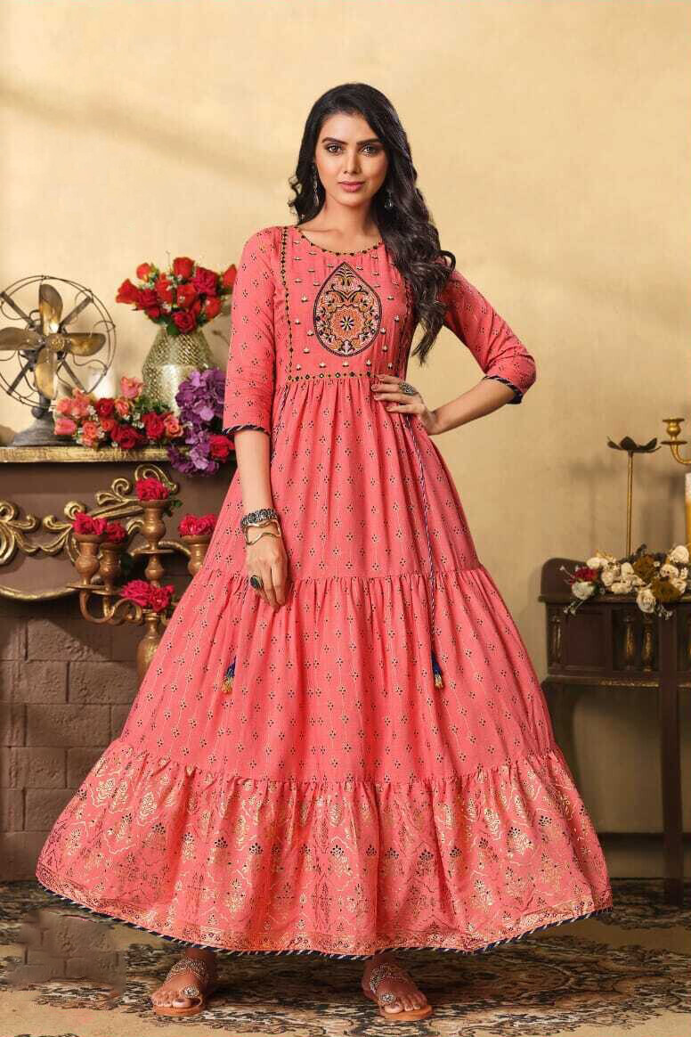 Embroidered Foil Print Heavy Rayon Gown In Pink