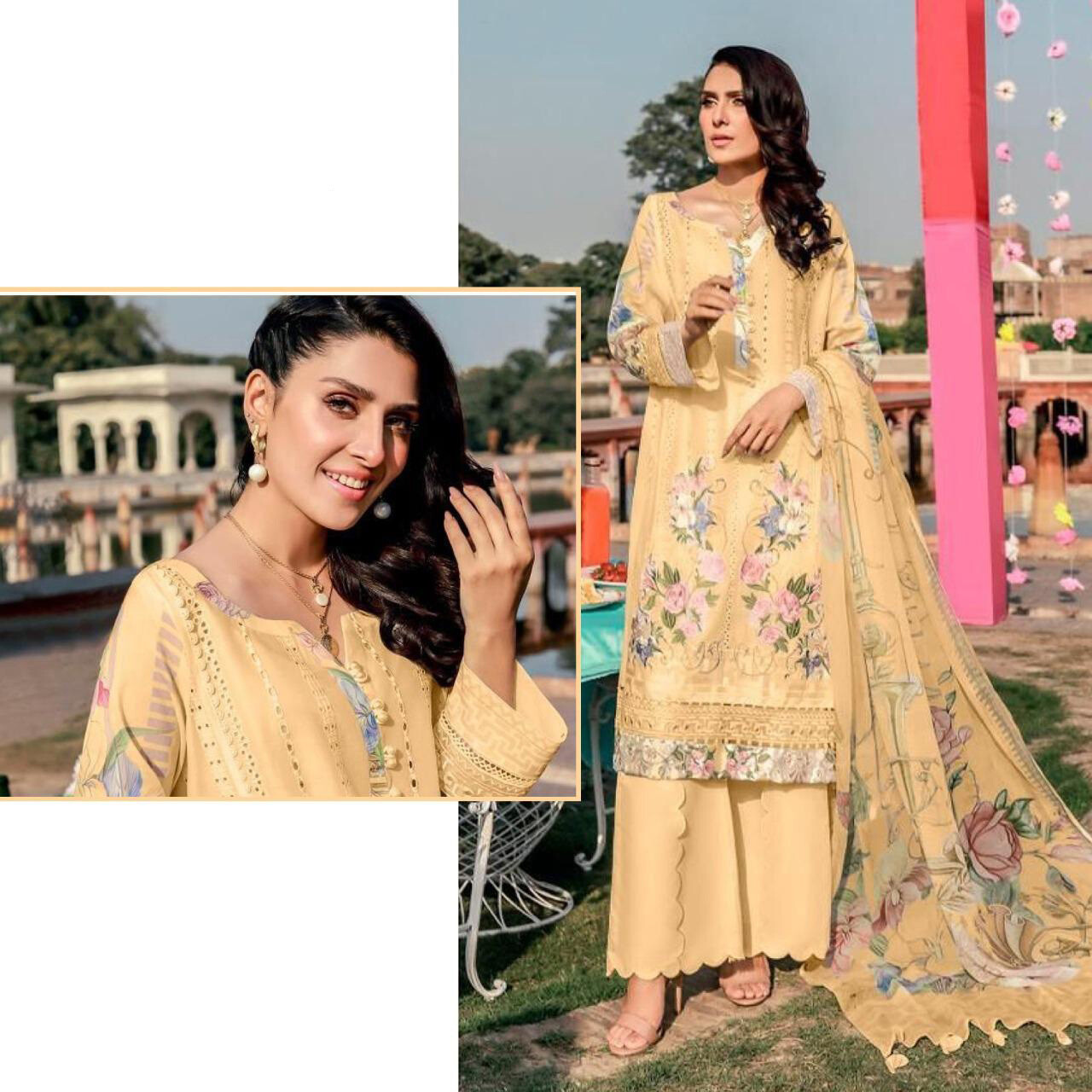Embroidered Lawn Cotton Plazzo Suit In Yellow