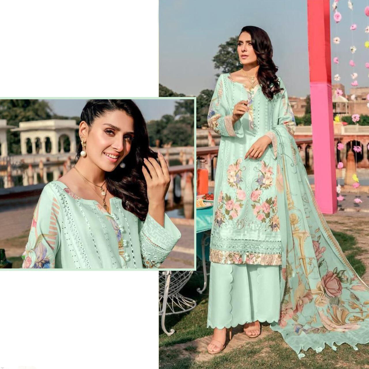 Embroidered Lawn Cotton Plazzo Suit In Blue