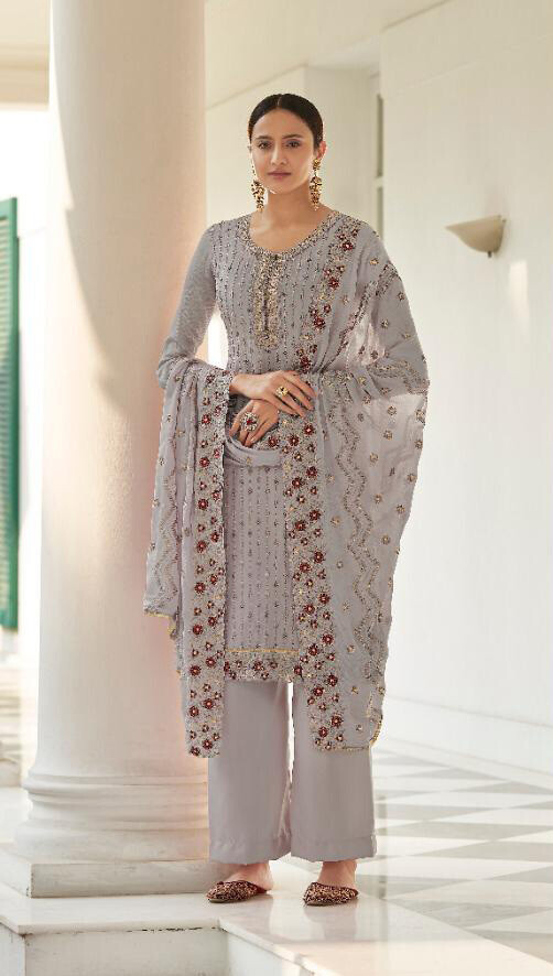 Heavy Embroidered Pure Viscos Chinon Plazzo Suit In Grey
