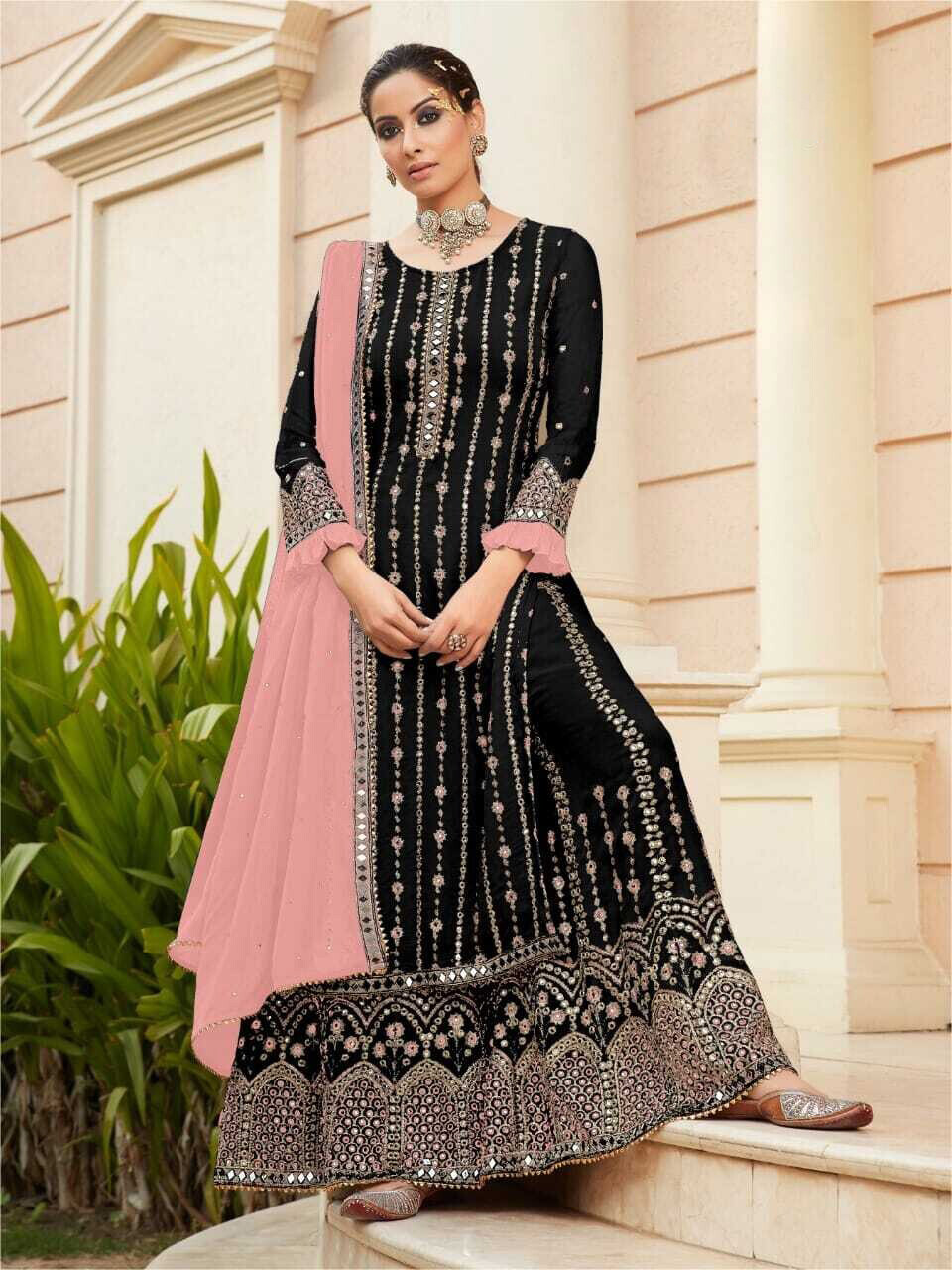 Diamond Mirror Work Embroidered Georgette Sharara Suit In Black Pink