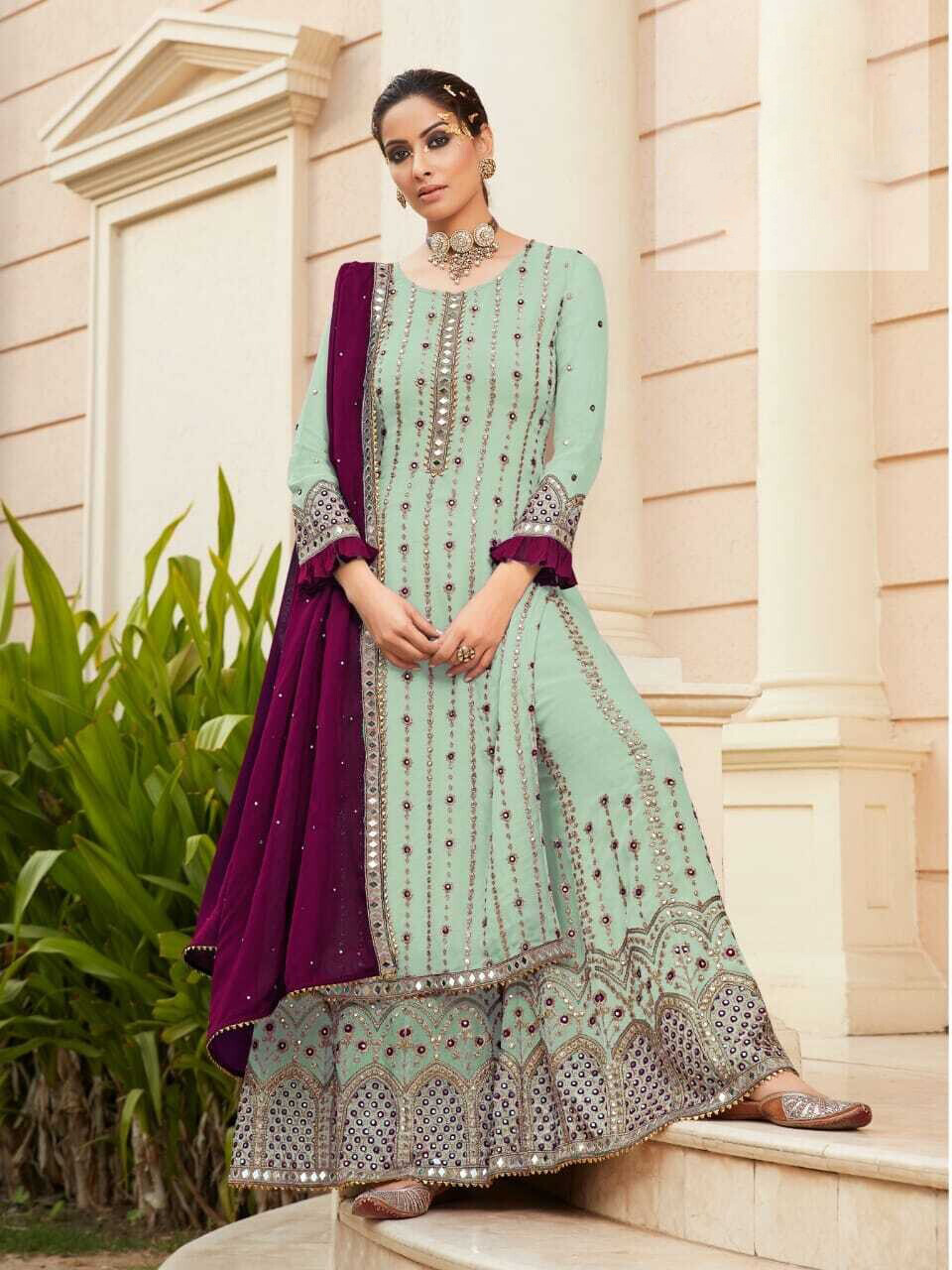 Diamond Mirror Work Embroidered Georgette Sharara Suit In Blue