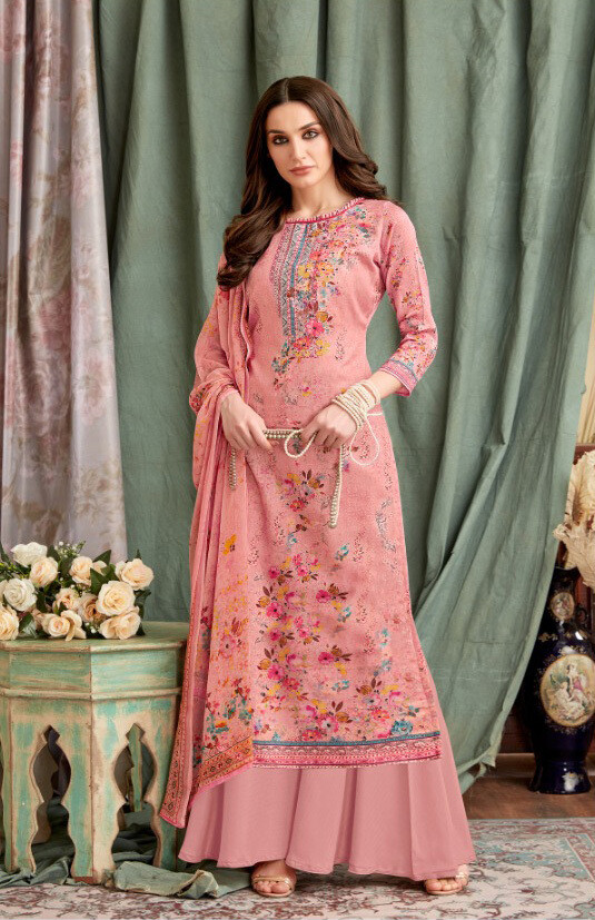 Embroidered Digital Print Pure Cotton Plazzo Suit In Pink