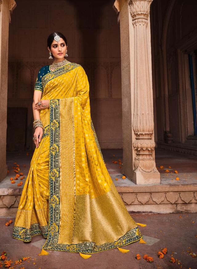 Fancy Resham Print Silk Saree In Yellow
