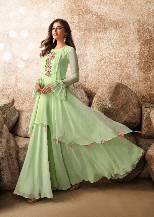 Heavy Embroidered Semi Georgette Gown In Light Green