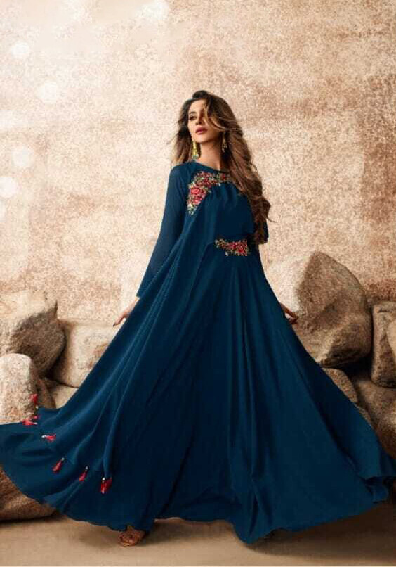 Heavy Embroidered Semi Georgette Gown In Prussian Blue